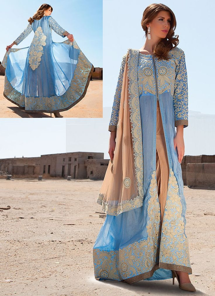Signature Turquoise Pure Georgette Anarkali Suit