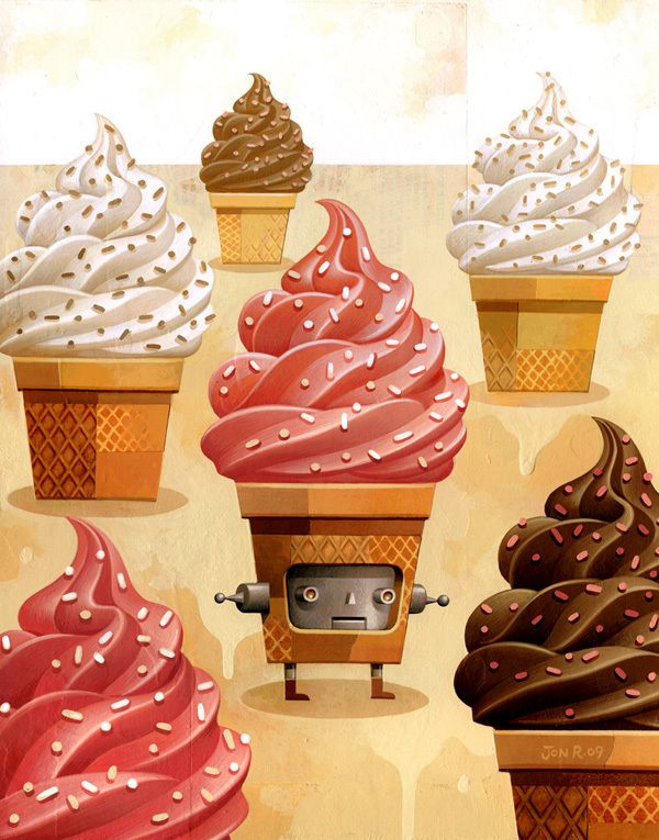 The Ice Cream Robot Series by Jon Reinfurt http://www.inspirefirst.com/2012/07/13/ice-cream-robot-series-jon-reinfurt/
