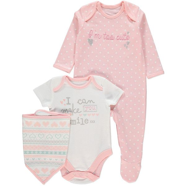 Baby Gift Set Asda : Piece sleepsuit bodysuit and bib set baby george at