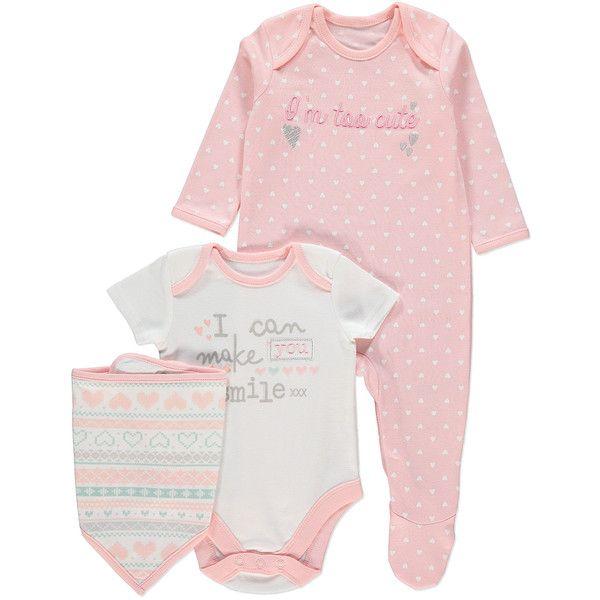 Baby Gift Set Asda : Piece sleepsuit bodysuit and bib set baby george at