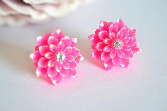 Pretty Dahlia Earring Stud Hot Pink wedding bridal vintage