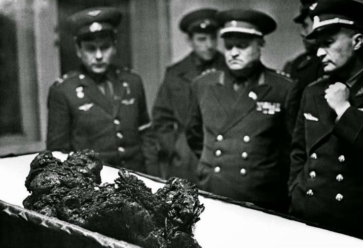 Allegedly, this is a photograph of Komarov's charred remains after his capsule crashed into the surface of the Earth at 140 km/hr. Image credit: RLA Novosti, Photo Researchers Inc.