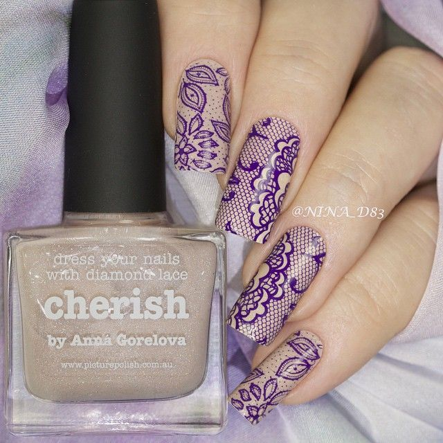 """""""Lace nails: stamping with Mundo de Uñas Violet over piCture pOlish Cherish by Anna Gorelova - a gorgeous nude jelly scatter holo, thank you so much Jules…"""""""