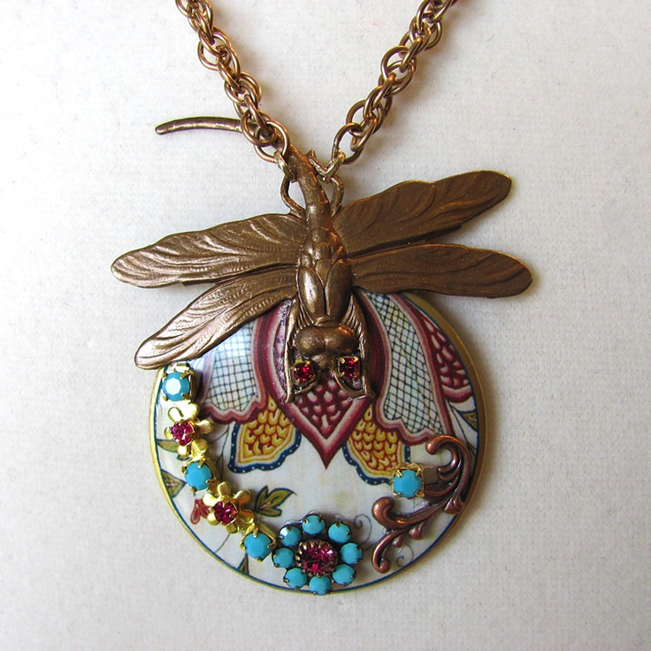 Indian floral and dragonfly necklace