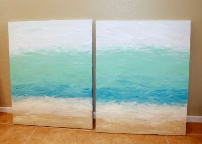 [from Clever Nest: Fool-Proof DIY Painting] How to paint a simple beach canvas; uses a texture technique too. Can stamp or stencil a quote on canvas.