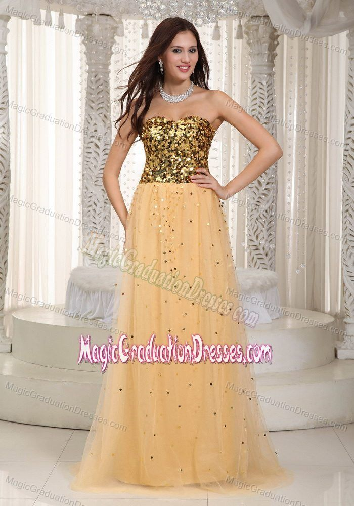 Hot Sale Gold Sweetheart Brush University Graduation Dresses with Sequins