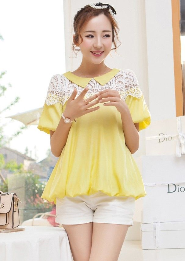 Summer casual blouse with lace embroidery YRB0791 #yellow #yellowtop #yellowchiffon