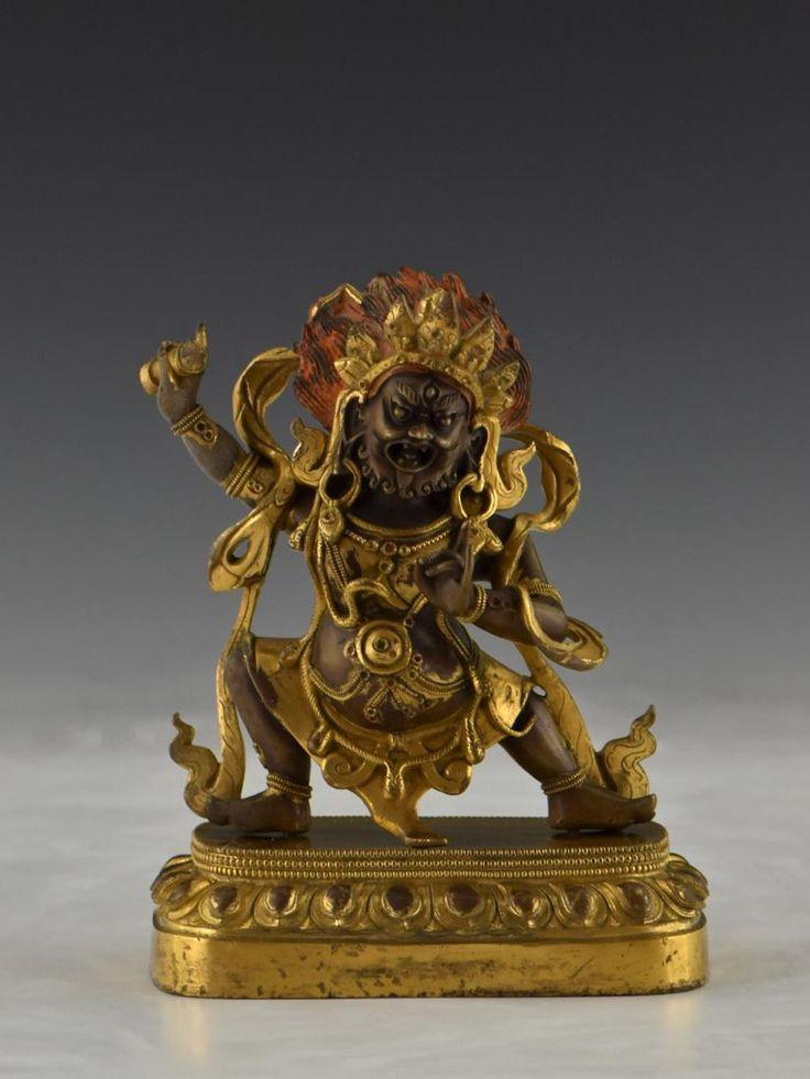 QING GILT BRONZE BUDDHA FIGURE OF VAJRAPANI