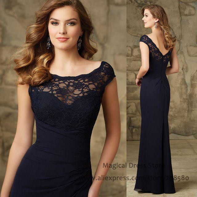 Azul marino Bata Demoiselle D'honneur Scoop Cordón de La Sirena Piso-Longitud Gasa Vestido de Dama de honor 2016 Vestidos para Invitados de Boda BM460