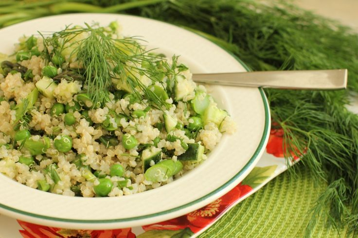 Green, Green, Green and White Quinoa Salad (with Asparagus, Cucumbers and Peas)