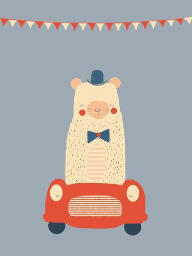 Beer print - Pimpelpluis - https://www.facebook.com/pages/Pimpelpluis/188675421305550?ref=hl - (nursery print illustration kids children art poster dieren kinderen cute illustratie hoed animal bear beer auto car vlaggetjes)