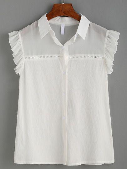 Blusa sin mangas volantes detalle malla transparente-Sheinside