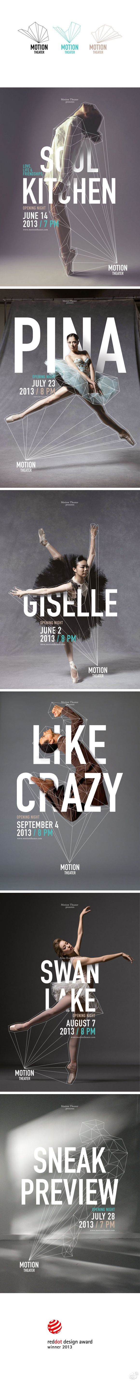 MOTION THEATER #design #poster #theater #dance #branding #season #style #draw #lines #photography #model #dancer
