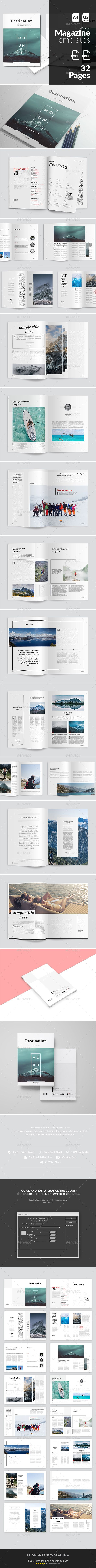 Magazine Template InDesign INDD - 32 Pages, A4 & US Letter Size