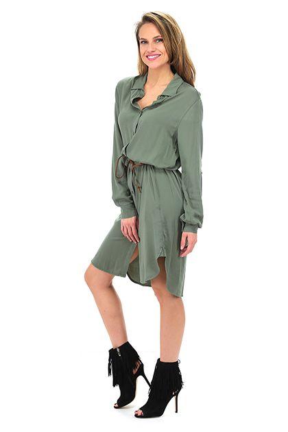 LIU.JO - Camicie - Abbigliamento - Maxi camicia con abbottonatura sul davanti e tasche laterali. Cintura inclusa. La nostra modella indossa la taglia /EU 40. - OLIVE - € 145.00