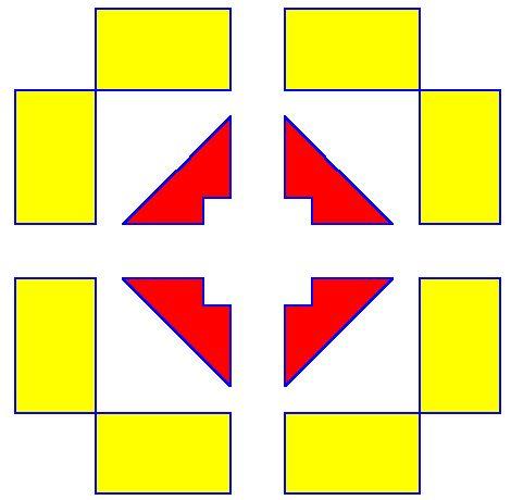 symmetrisch : aan beide kanten hetzelfde