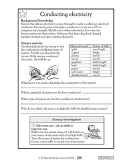 5th grade Science Worksheets Conducting electricity