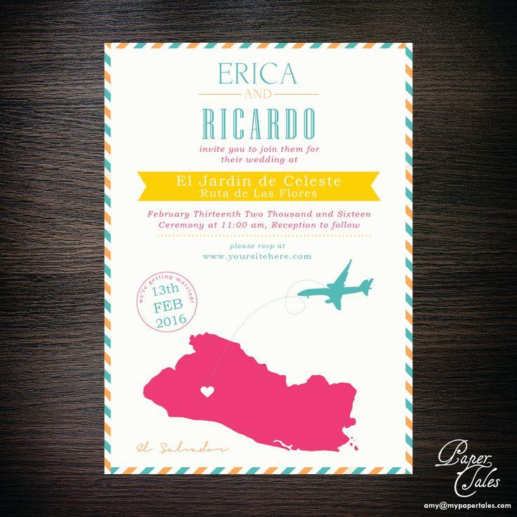 Tropical El Salvador,  Destination Wedding Invitations - Digital by PaperTalesCustom on Etsy