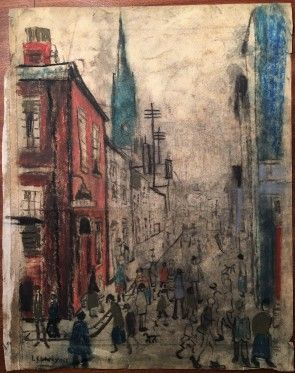 LS Lowry Pastel Line Drawing