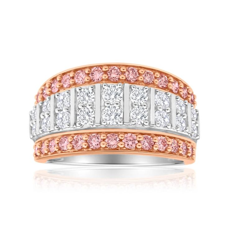 Statement piece Pink and White Diamond cocktail Ring in 18ct Gold