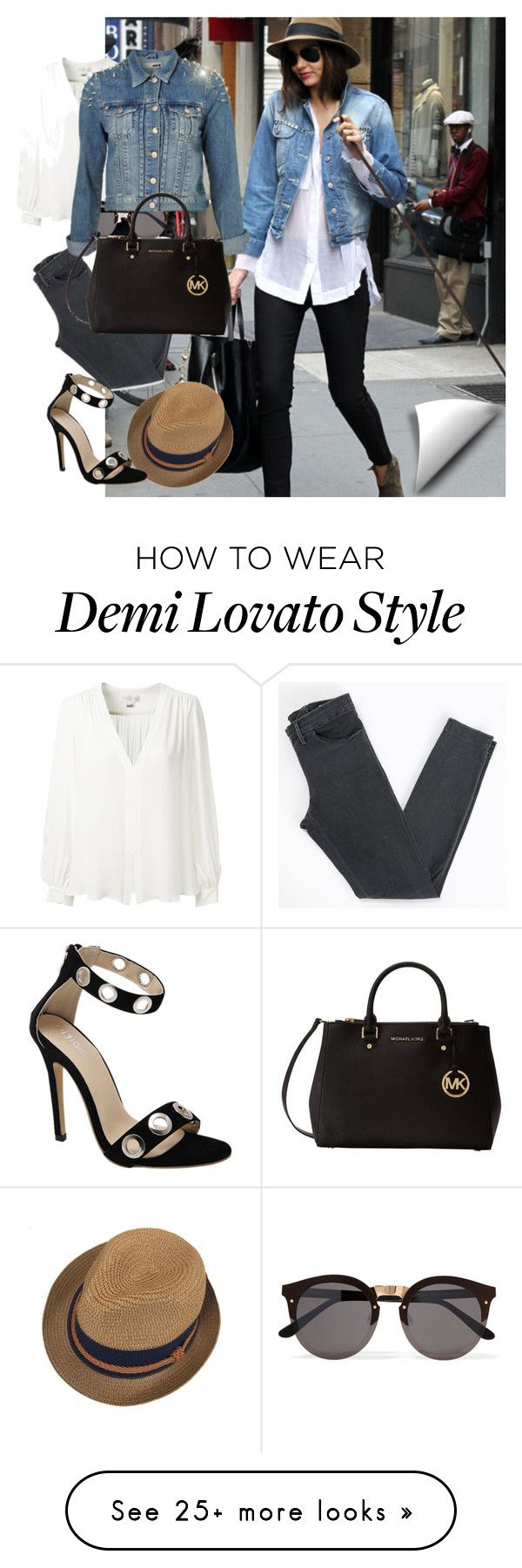 """City Denim Jacket"" by ciukinaa on Polyvore featuring Erin Fetherston, Acne Studios, Illesteva, Topshop and Michael Kors"