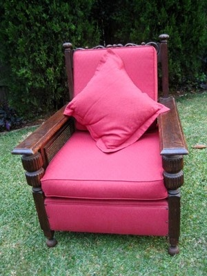 Red Upholstered Vintage Antique Jacobean Arm Chair A