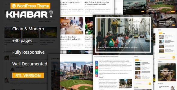 KHABAR - Responsive News Magazine WordPress Theme Template Download
