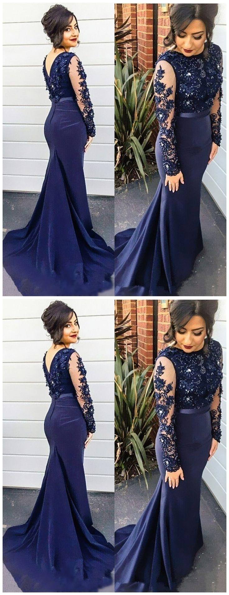Long Sleeve Prom Dress,Navy Blue Mermaid Prom Dresses,Evening