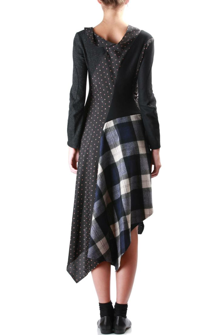 Patchwork Of Textures And Prints Asymmetric Dress