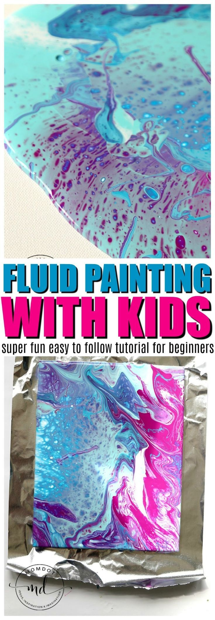 how to fluid paint with kids | Fluid Painting Tutorial | Acrylic Fluid Painting DIY