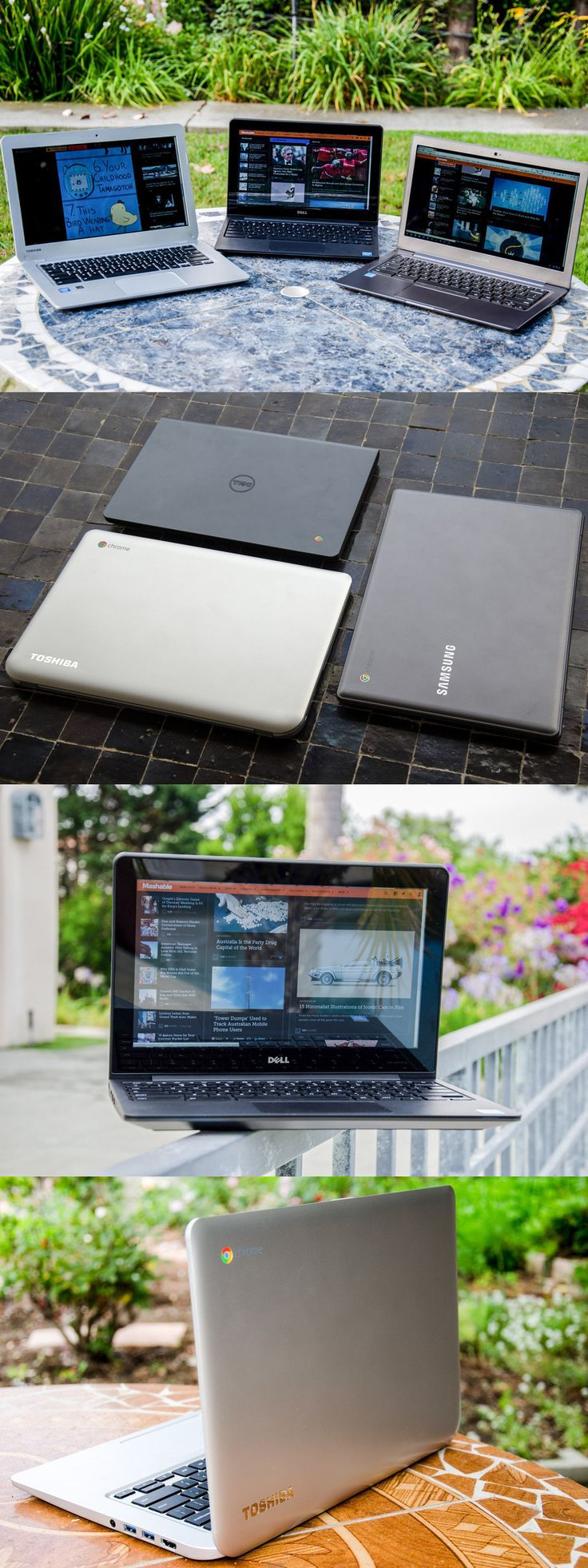 The Dell Chromebook 11, the Samsung Chromebook 2, and the Toshiba Chromebook.