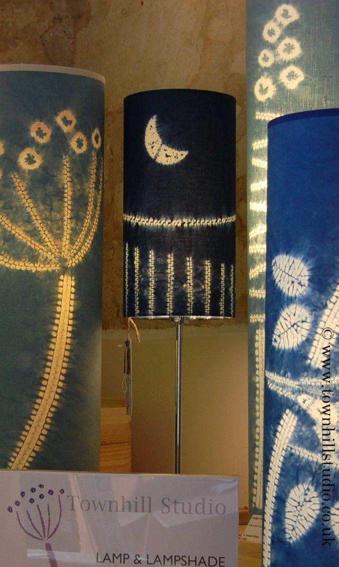 Waning moon indigo dyed small shibori lampshade by Annabel Wilson of Townhill Studio. Created with maki age and ori nui shibori.