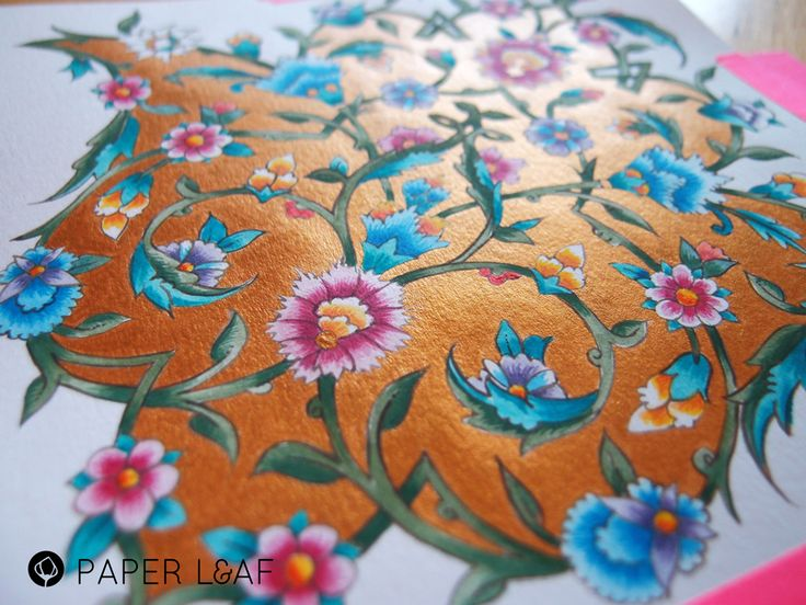 Tazhib | Imitation of Tazhib | Acrilyc paint and metallic paint on Canson cardstock