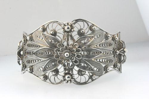 Handcrafted Stamped DGS Turkey 925 Fabulous Filigree Flower Cuff Bracelet 40 8g | eBay