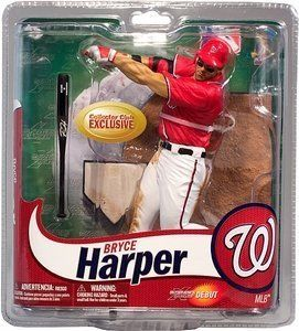 "McFarlane Toys MLB Sports Picks Collectors Club Exclusive Action Figure Bryce Harper (Washington Nationals) Red Jersey & Eye Black by McFarlane Toys. $28.99. McFarlane Toys MLB Sports Picks Collectors Club Exclusive Action Figure Bryce Harper (Washington Nationals) Red Jersey & Eye Black. As far as baseball prospects go, there has never been a ""Can't Miss"" player quite like Bryce Harper! Simply put, Harper is one of the most highly-touted prospects in the history of Major League ..."