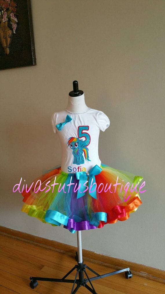 Rainbow dash inspired tutu set rainbow dash by Divastutusboutique