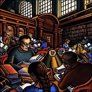 """""""Library (2)"""", 2001 / Bascove (b. 1946)--where are the computers"""