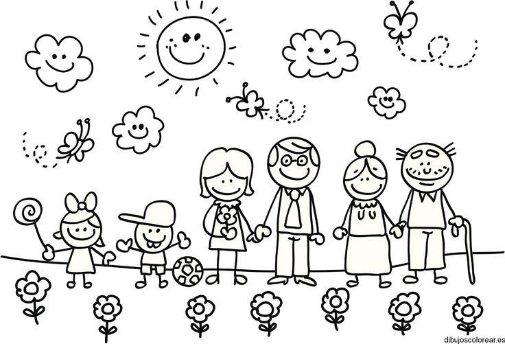 dibujos de familias para colorear - Buscar con Google
