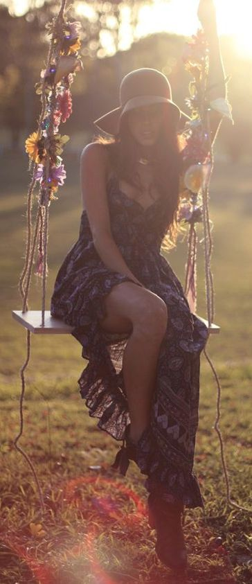 Sweet modern hippie floral dress and boho chic floppy hat. For the BEST Bohemian fashion trends FOLLOW https://www.pinterest.com/happygolicky/the-best-boho-chic-fashion-bohemian-jewelry-gypsy-/ now.