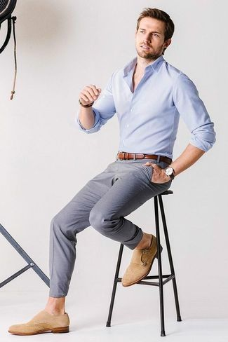 Men's Light Blue Longsleeve Shirt, Brown Leather Belt, Grey Chinos, and Tan Suede Double Monks