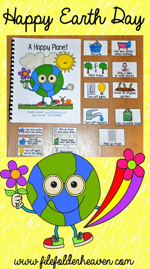 """This Earth Day Freebie, """"A Happy Planet"""" is an Adapted Song Book that teaches Earth Day concepts and vocabulary through hands-on interaction and song. Enjoy this free activity from April 4th through April 30th, 2015 at File Folder Heaven."""