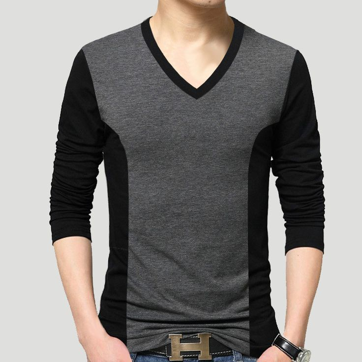 Men Black Gray Patchwork Cotton T-Shirt 2016 V Neck Slim Fitted T Shirt Men Autumn Winter Tops Size M-5XL