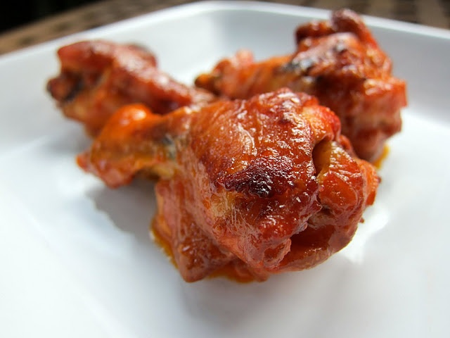 Bake chicken wings... need to do this and try with the new parmesan garlic sauce Dad got us!