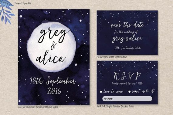 Moon and Stars Invitation Set by PaperVeilStationery now at http://ift.tt/2DCWljk