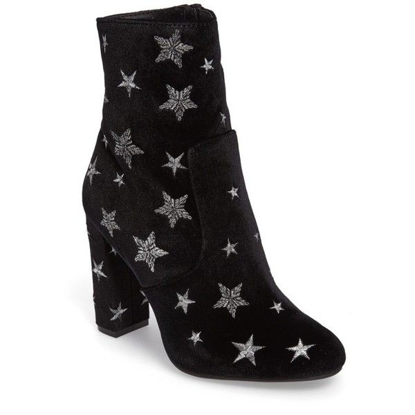 Women's Steve Madden Edit Embroidered Star Bootie (310 BRL) ❤ liked on Polyvore featuring shoes, boots, ankle booties, black fabric, black boots, black ankle bootie, steve madden, bootie boots and black booties