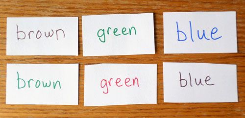Index cards with color names used to demonstrate the Stroop effect.