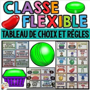 La classe flexible permet à l'enseignant d'offrir un aménagement flexible en salle de classe. Les élèves peuvent choisir un endroit qui leur permet de bien travailler. Cette ressource contient: -Tableau de choix - 2 versions: (images seulement ET images et titres) -Règles