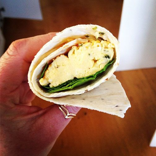 FlabULessNZ made this delicious-looking light lunch with one of our Gerry's Wonder Wraps wrapped tightly around scrambled eggs mixed with almond milk, chives, spinach & a splash of garlic sauce Yum!