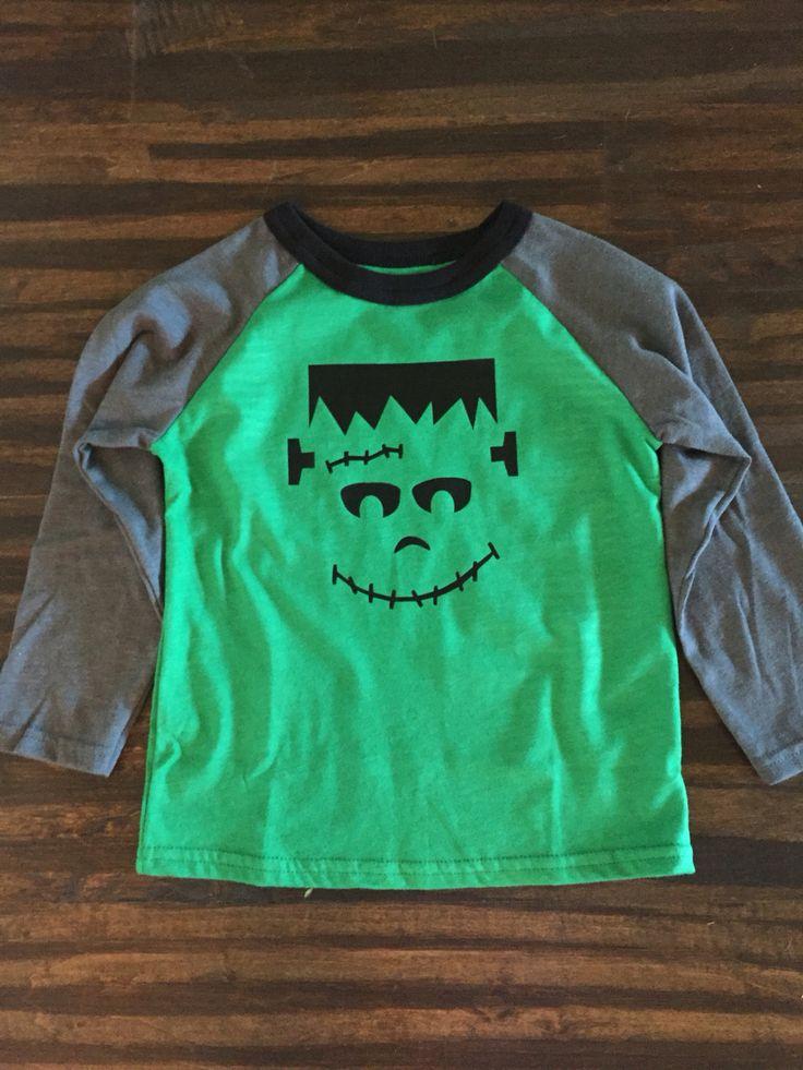 Toddler boy Halloween custom shirt, Frankenstein raglan, eclectic elk