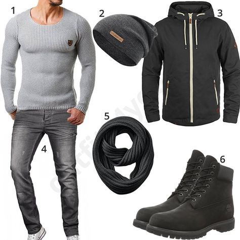 """Grau-Schwarzes Outfit mit Timberland 6"""" Boots (m0678)"""